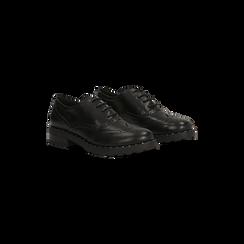 Francesine stringate nera con mini-borchie e lavorazione Duilio, 120682916EPNERO037, 002