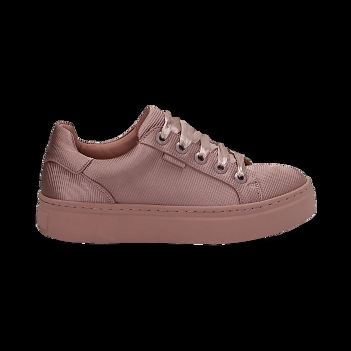 Sneakers nude in tessuto, suola 4 cm  , Scarpe, 142509512TSNUDE035