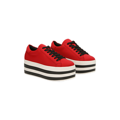 Sneakers rosse con suola platform a righe 6 cm, Scarpe, 12A777615LYROSS, 002 preview