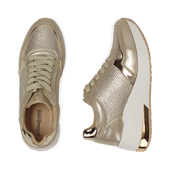 Sneakers en laminado con cuña color dorado , Zapatos, 152802472LMOROG037, 003 preview