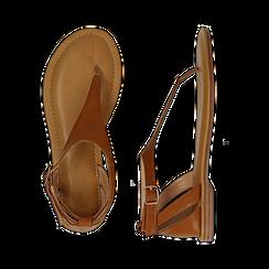 Sandali infradito cuoio in eco-pelle, Primadonna, 134958215EPCUOI036, 003 preview