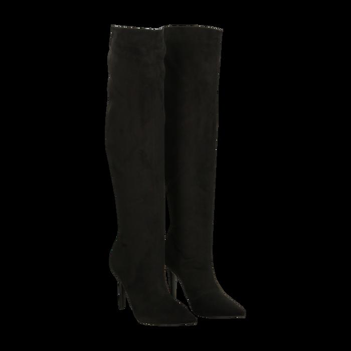 negozio online 29eff 524b9 Stivali sopra il ginocchio neri scamosciati, tacco stiletto 10 cm