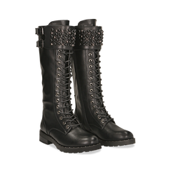 Anfibi neri con perle e fibbie dark, tacco 3,5 cm, Primadonna, 12A772521EPNERO, 002 preview