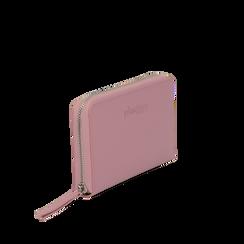 Portafoglio rosa in eco-pelle a tre scomparti, Borse, 133723501EPROSAUNI, 002a