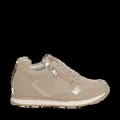 Sneakers beige in microfibra con zip , Scarpe, 132899172MFBEIG037, 001a