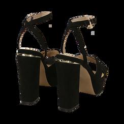 Sandali neri in microfibra con plateau, tacco 12 cm, Sandali con tacco, 152133001MFNERO035, 004 preview