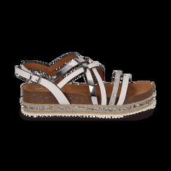 Sandali platform bianchi in eco-pelle, zeppa 4,50 cm , Primadonna, 111718503EPBIAN, 001 preview