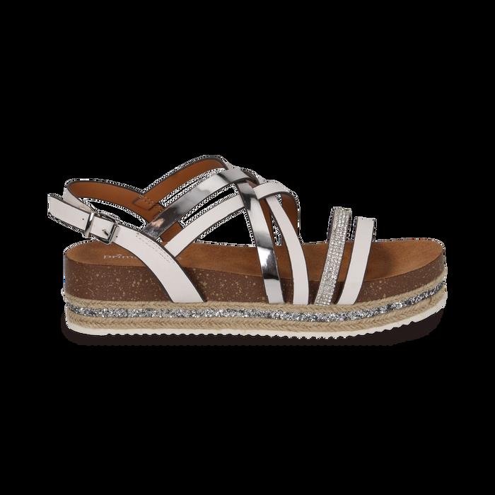 Sandali platform bianchi in eco-pelle, zeppa 4,50 cm , Primadonna, 111718503EPBIAN