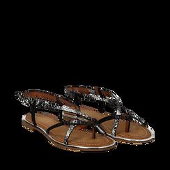 Sandali flat neri in eco-pelle, dettagli snake skin, Primadonna, 134987048PTNERO036, 002a
