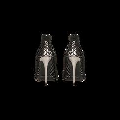 Décolleté canna di fucile effetto mirror con rete a calzino, tacco stiletto 10,5 cm, Primadonna, 122167245SPCANN035, 003 preview