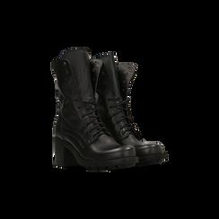 Anfibi neri con gambale alto, tacco medio, Primadonna, 124500080VINERO039, 002