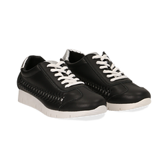 Sneakers nere in eco-pelle ,