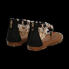 Sandali gioiello flat neri in raso , Primadonna, 133601507RSNERO, 004 preview