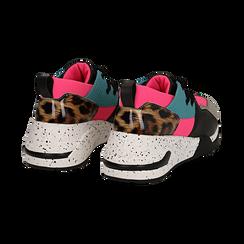 Sneakers fucsia in tessuto tecnico con dettagli leopard, zeppa 6,50 cm, Scarpe, 14D814201TSFUCS035, 004 preview