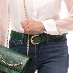 Cintura verde in eco-pelle stampa cocco, Abbigliamento, 144045701CCVERDUNI, 002a