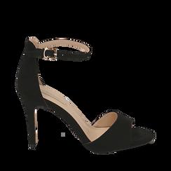 Sandali neri in microfibra, tacco 9,5 cm, Sandali con tacco, 154901361MFNERO035, 001a