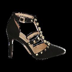 Escarpins noir en microfibre avec des clous, talon 10,50 cm, Primadonna, 152146820MFNERO037, 001 preview