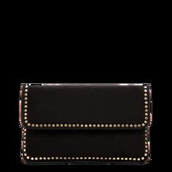 Pochette nera in microfibra scamosciata con profili borchiette, Borse, 123308832MFNEROUNI, 001a
