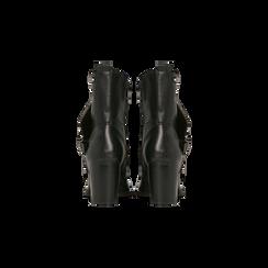 Tronchetti neri con gambale asimmetrico, tacco 4 cm, Scarpe, 123018602EPNERO, 003 preview