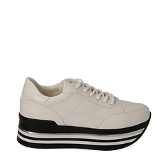 Sneakers platform bianche in eco-pelle, 149361611EPBIAN035, 001a