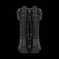 Anfibi neri con perle e fibbie dark, tacco 3,5 cm, Primadonna, 12A772521EPNERO, 003 preview