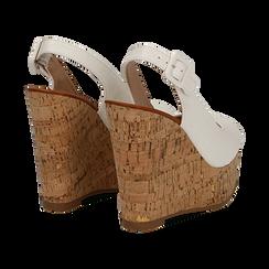 Sandali platform bianchi in eco-pelle, zeppa in sughero 12 cm , Primadonna, 134907982EPBIAN035, 004 preview