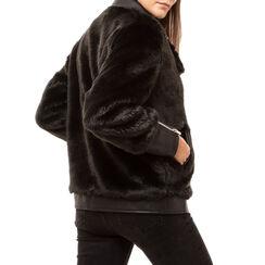 Biker jacket nera in eco fur, Primadonna, 166500906FUNEROM, 002 preview