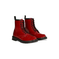 Anfibi rossi vernice, tacco basso, Scarpe, 122801501VEROSS036, 002