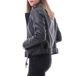 Biker jacket nera in eco-pelle, Abbigliamento, 146506331EPNERO, 002 preview