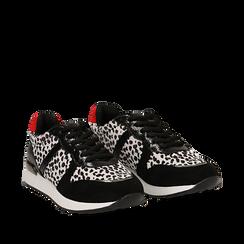 Sneakers leopard nere in eco-cavallino, Scarpe, 142008377CVLENE035, 002a