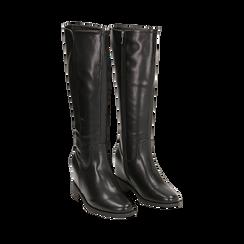 Stivali neri in eco-pelle con zeppa interna, tacco 3 cm , Primadonna, 149721229EPNERO041, 002a