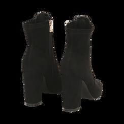 Ankle boots neri in microfibra, tacco 9,5 cm , Stivaletti, 142166061MFNERO035, 004 preview