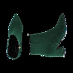 Ankle boots verdi microfibra, tacco 6 cm, Stivaletti, 144916811MFVERD035, 003 preview