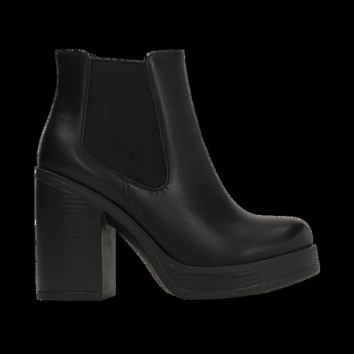 Chelsea Boots neri, suola in gomma e tacco 10 cm, Scarpe, 129300511EPNERO