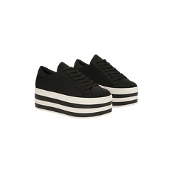 Sneakers nere con suola platform a righe 6 cm, Scarpe, 12A777615LYNERO, 002 preview
