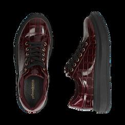 Sneakers bordeaux in vernice effetto coccodrillo, suola 4 cm , Scarpe, 142019051VEBORD036, 003 preview