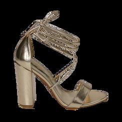 Sandali lace-up oro in eco-pelle laminata, tacco 10,50 cm, Scarpe, 152760851LMOROG035, 001a