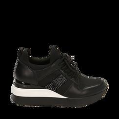 Zapatillas en tejido color negro, cuña 6 cm , Primadonna, 162801723TSNERO035, 001a