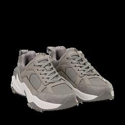 Dad shoes grigie in microfibra, zeppa 4,50 cm, Sneakers, 142619462MFGRIG035, 002a