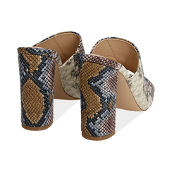 Mules blu/beige in eco-pelle snake print, tacco 10,50 cm, Zapatos, 152709445PTBLBE036, 004 preview