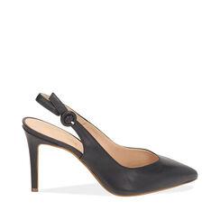 Slingback azul de piel, tacón 9 cm, Zapatos, 15D601002VIBLUE035, 001a