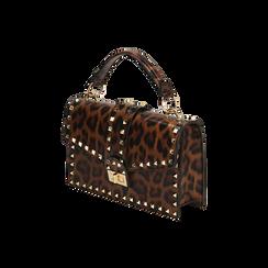 Borsa a mano borchiata leopard, IDEE REGALO, 165122990EPLEMAUNI, 002 preview