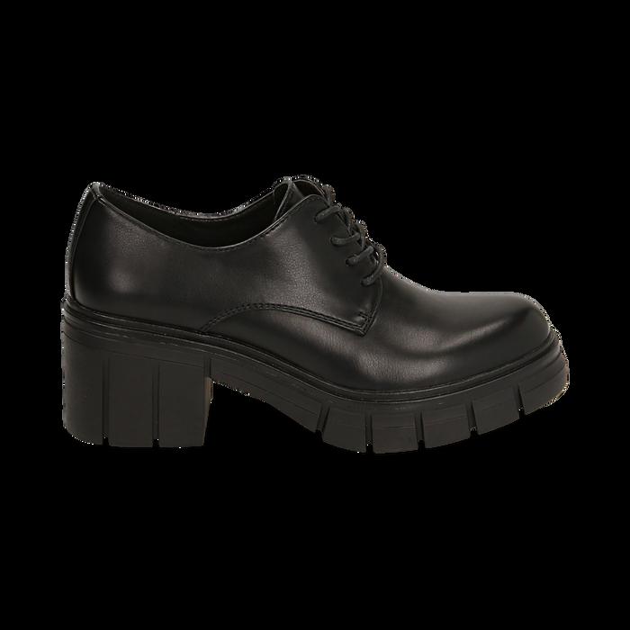 Stringate nere, tacco 5 cm  , Promozioni, 160621175EPNERO037