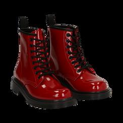Anfibi rossi in vernice, Scarpe, 142801501VEROSS036, 002a