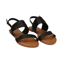 Sandali flat neri in eco-pelle intrecciata,