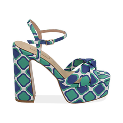 Sandali verdi in raso optical print, tacco 12 cm, Scarpe, 152133401RSVERD, 001 preview