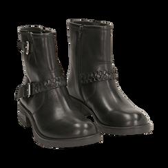 Biker boots neri con fibbie in pelle, tacco 4 cm , Stivaletti, 146262008PENERO036, 002 preview