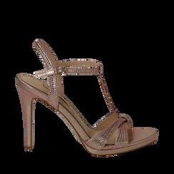 Sandalo rosa in laminato, tacco 10,50 cm, Sandali con tacco, 132127402LMROSA040, 001a