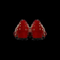 Décolleté rosse a mocassino nere con borchiette, tacco 3 cm, Primadonna, 124952202MFROSS, 003 preview
