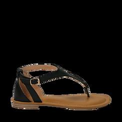 Sandali infradito neri in eco-pelle, Primadonna, 134958215EPNERO036, 001a